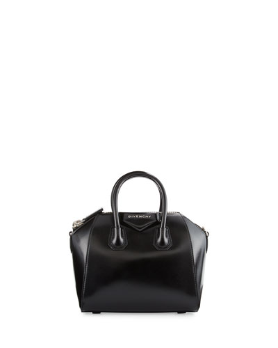 Antigona Mini Leather Satchel Bag, Black