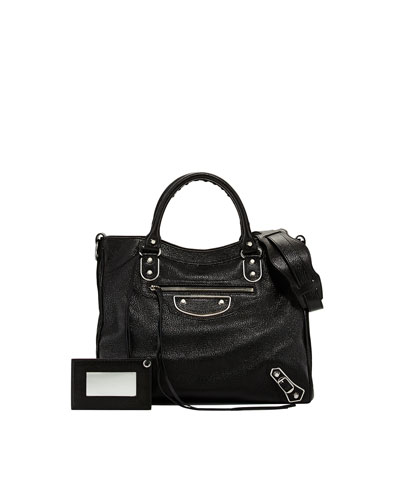 Classic Glossy Leather Velo Bag, Black
