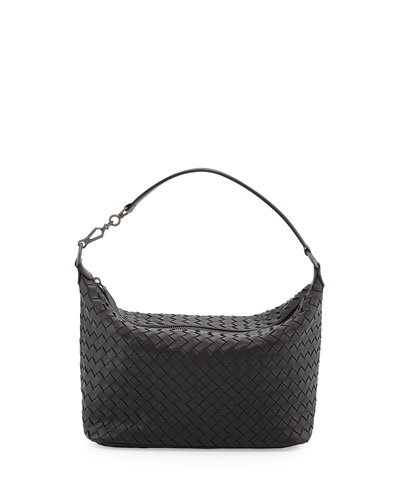 Small East-West Zip Hobo Bag, Black