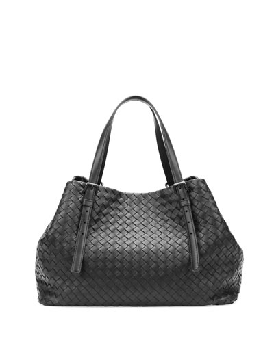 A-Shape Woven Tote Bag, Black