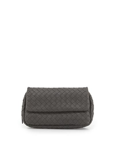 Intrecciato Small Chain Crossbody Bag, Gray