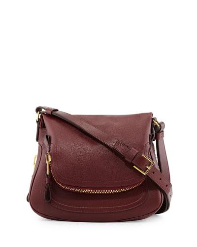Jennifer Medium Leather Shoulder Bag, Red