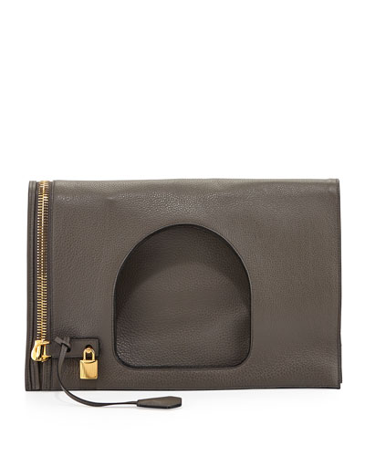 Alix Leather Padlock & Zip Fold-Over Bag