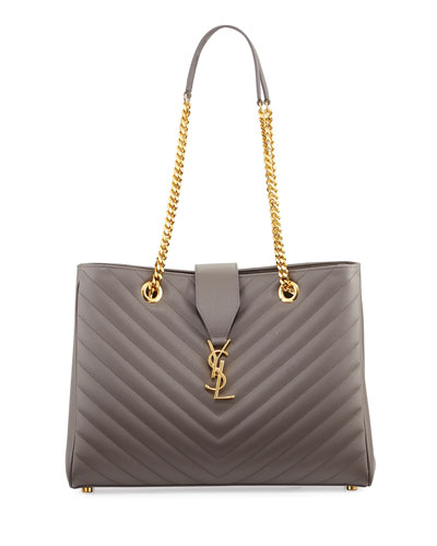 Monogram Matelasse Shopper Bag, Dark Beige