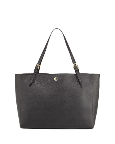York Saffiano Leather Tote Bag, Black