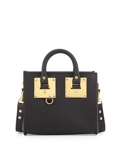 Small Leather Box Satchel Bag, Black