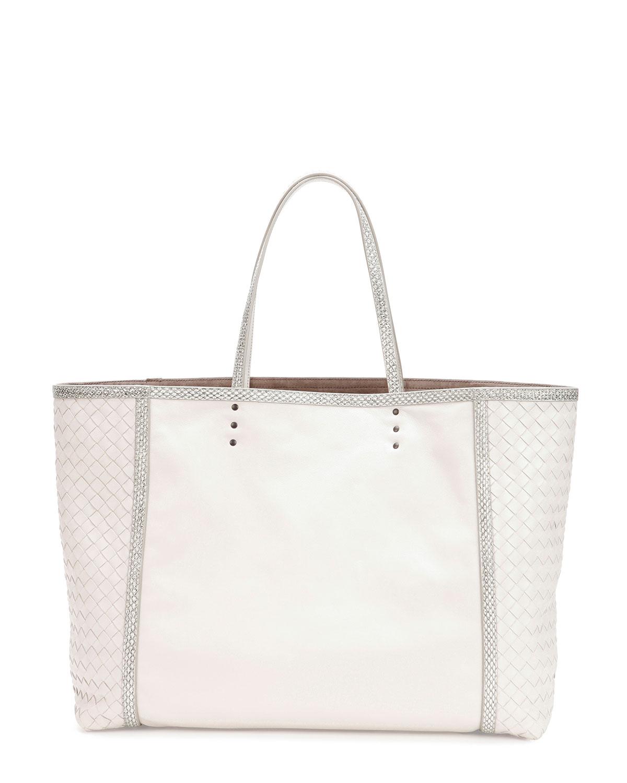 Medium Snake & Napa Tote Bag, White