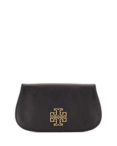 Britten Leather Flap Clutch Bag, Black