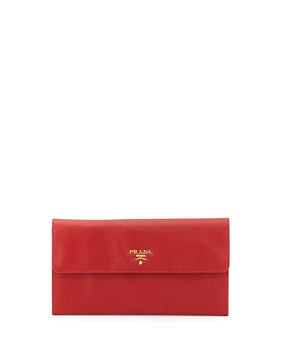 Saffiano Flap Travel Wallet, Red (Fuoco)
