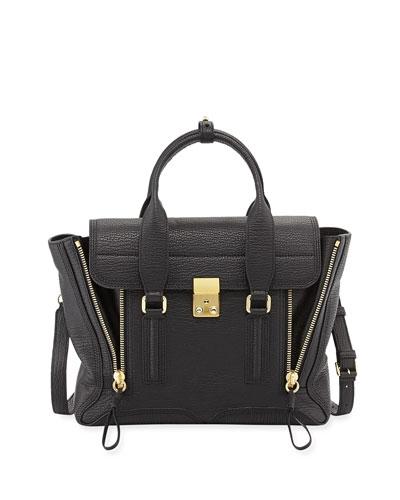 Pashli Medium Zip Satchel Bag, Black