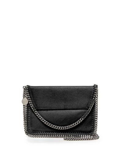 Falabella Mini Flap Shoulder Bag, Black