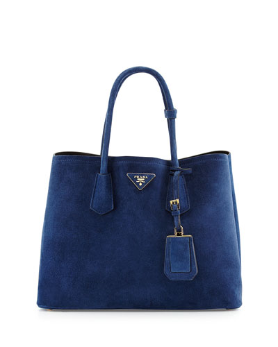 Suede Medium Double Bag, Navy (Baltico)