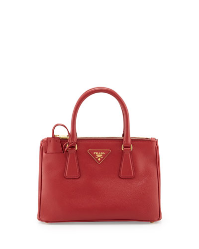 Saffiano Double-Zip Mini Crossbody, Red (Fuoco)
