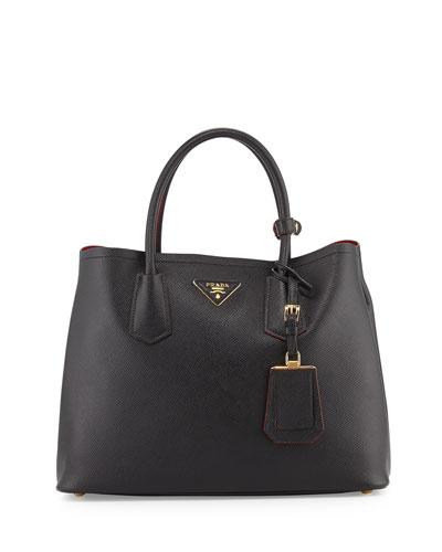 Saffiano Cuir Small Double Bag, Black (Nero)