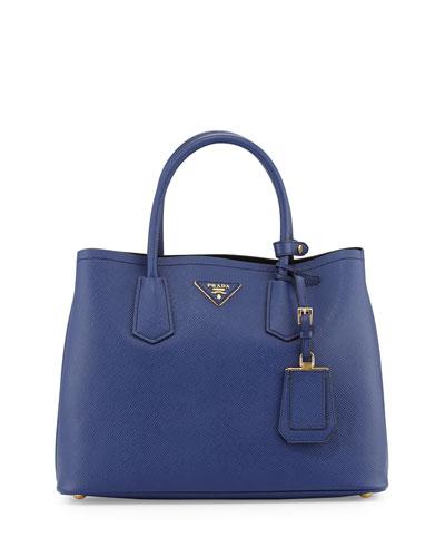 Saffiano Cuir Small Double Bag, Blue (Inchiostro)