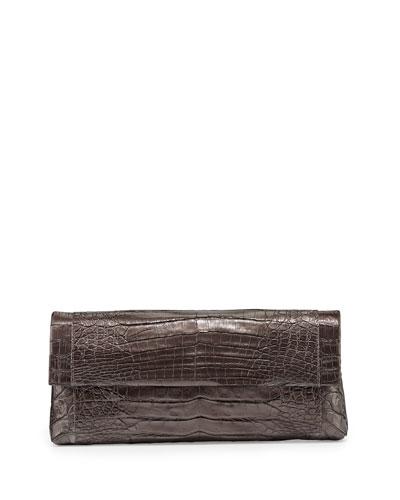 Gotham Crocodile Flap Clutch Bag, Anthracite