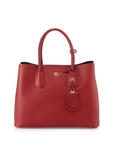 Saffiano Cuir Double Bag, Red (Fuoco)