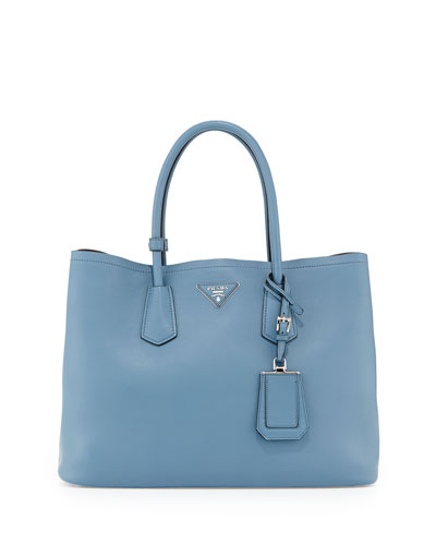 City Calf Double Bag, Denim Blue (Avio)