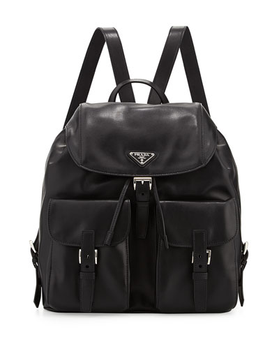 Soft Calf Double-Pocket Backpack, Black (Nero)