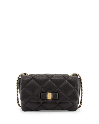 Gelly Quilted Leather Shoulder Bag, Black