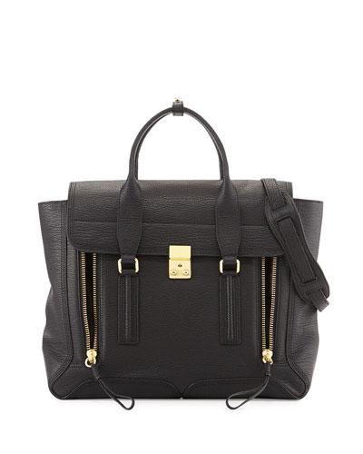 Pashli Large Zip Satchel Bag, Black