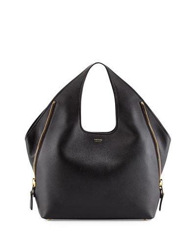 Jennifer Side-Zip Leather Hobo Bag, Black