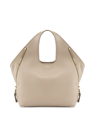 Jennifer Side-Zip Leather Hobo Bag, Taupe