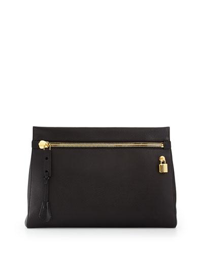 Alix Small Zip & Padlock Clutch Bag, Black