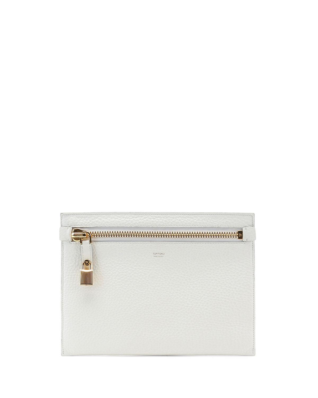 Large Calfskin Zip Clutch Bag, White