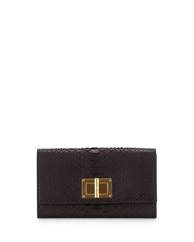 Natalia Python Turn-Lock Wallet-on-Chain, Black