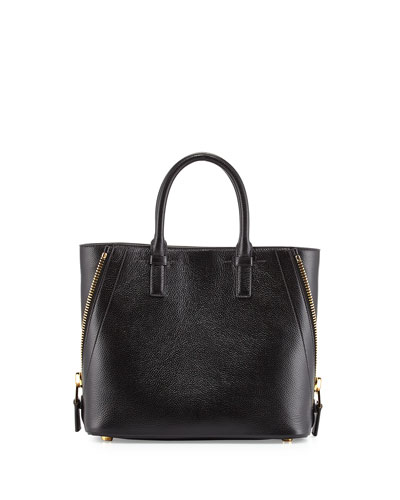 Jennifer Mini Trap Leather Tote Bag, Black