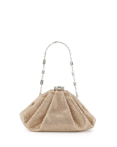 Enchanted Allover Beaded Pochette Clutch Bag, Silver/Champagne