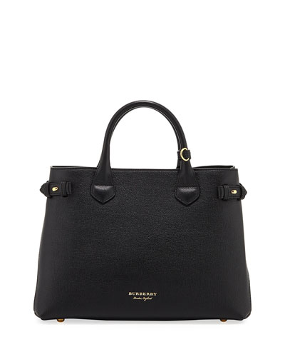 Leather & Check Canvas Tote Bag, Black