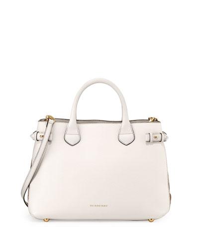 Leather Check-Panel Satchel Bag, White