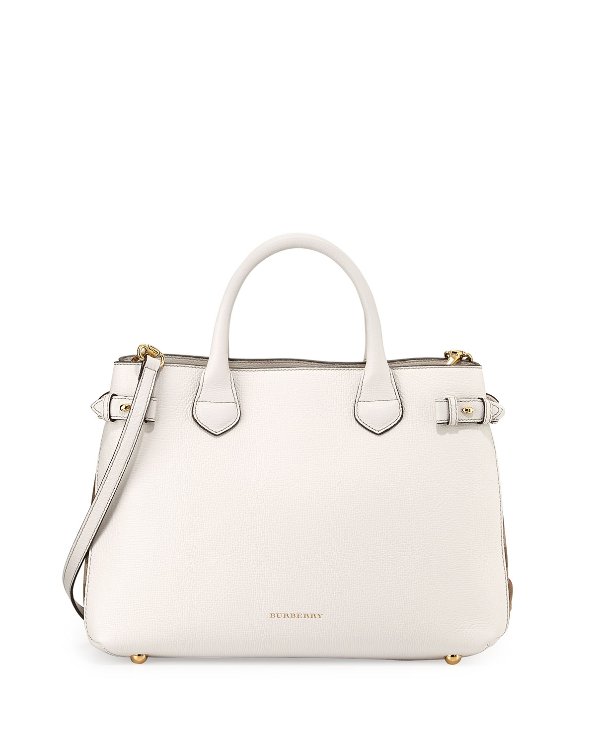 Leather Check-Panel Satchel Bag, White