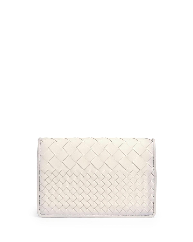 Intrecciato Medium Woven Clutch Bag, White