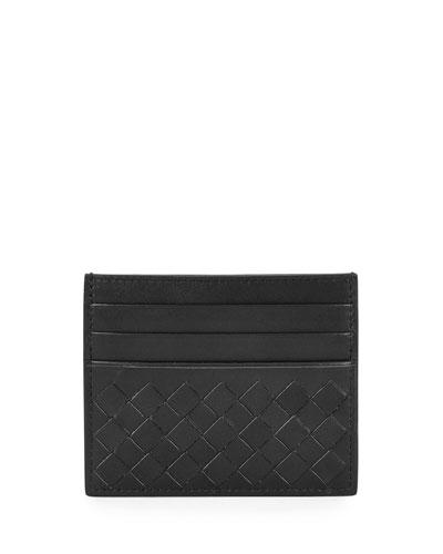 Intrecciato Leather Card Case, Black