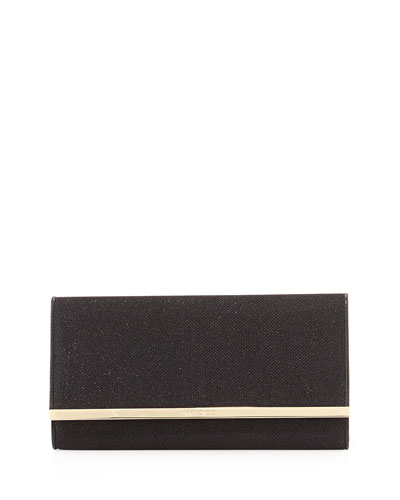 Maia Large Glittery Wallet Clutch Bag, Black