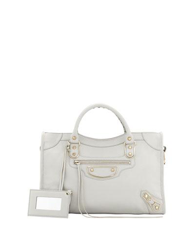 Classic Chevre Grainee City Bag, Light Gray