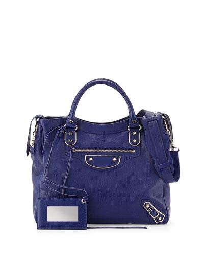 Metallic Edge Classic Velo Bag, Blue