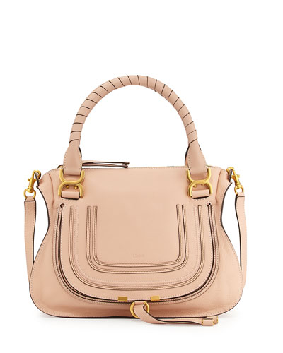 Marcie Medium Satchel Bag, Nude
