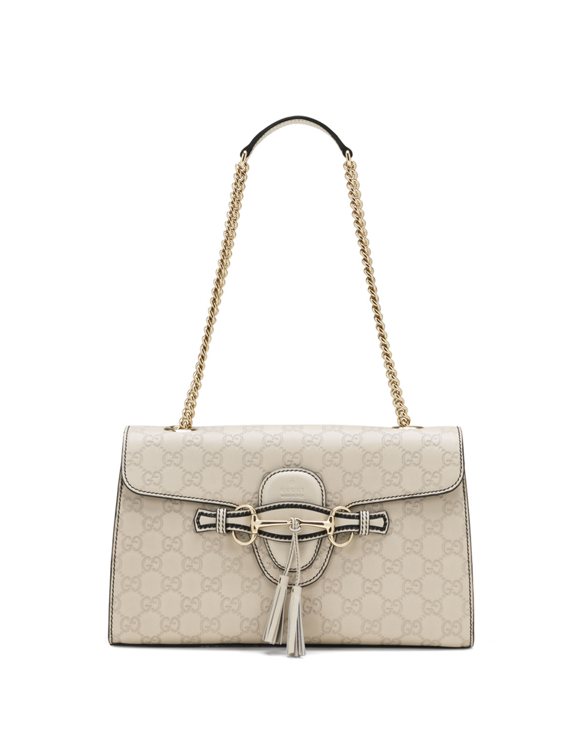 Emily Guccissima Leather Chain Shoulder Bag, White
