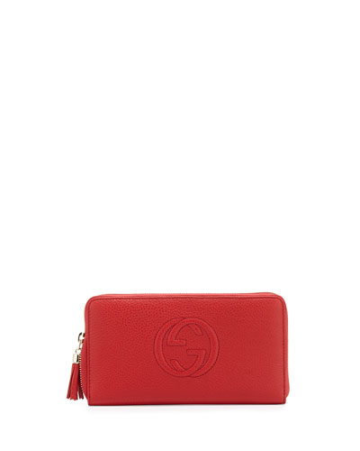 Soho Leather Travel Zip Around Wallet, Red
