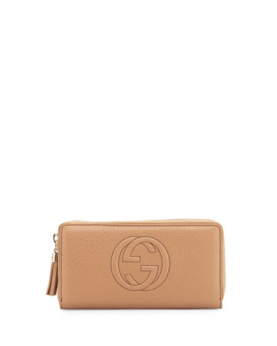 Soho Leather Zip-Around Wallet, Beige