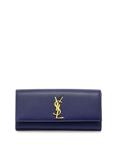 Monogram Calfskin Clutch Bag, Cobalt Blue