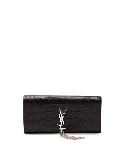 Monogram Croc-Stamped Clutch Bag, Black