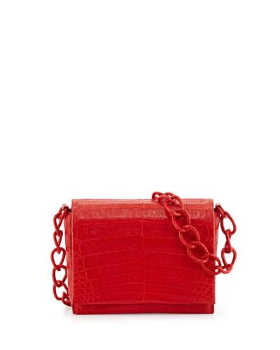 Small Crocodile Chain Crossbody Bag, Red Matte