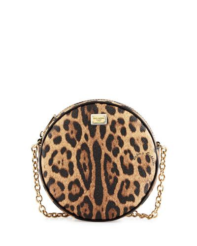 Glam Leopard-Print Round Crossbody Bag