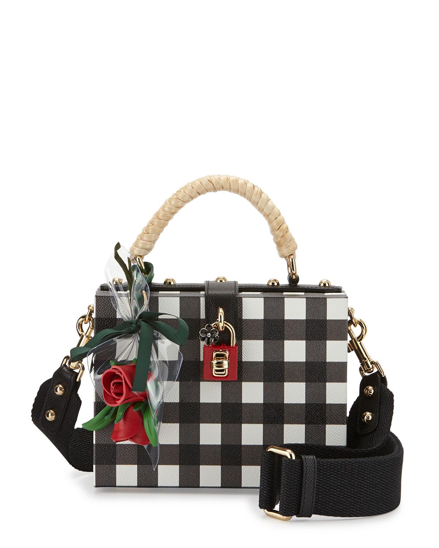 Dolce Checker Rose Satchel Bag, White