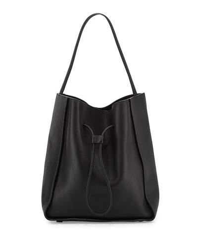Soleil Large Drawstring Bucket Bag, Black